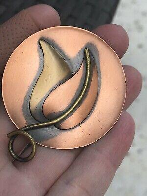 Leaf Circle Vintage Copper Pin Brooch D-3478 (Leaf Circle Pin)