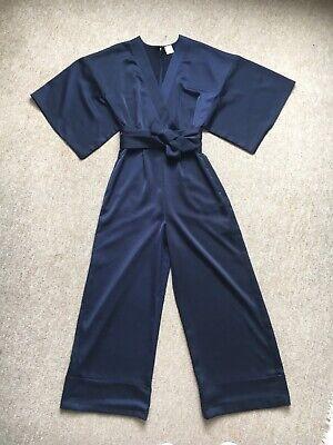 Iris & Ink Navy Blue Satin Jumpsuit - Size 6
