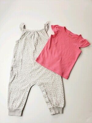 Carters Pink 2 Piece - Carters 2 Piece Floral Romper And Pink Top Size 9 Months