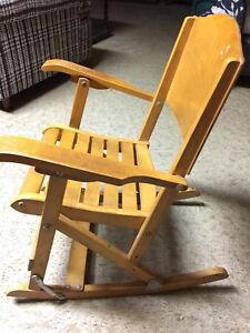 Child's foldable wooden rocking chair