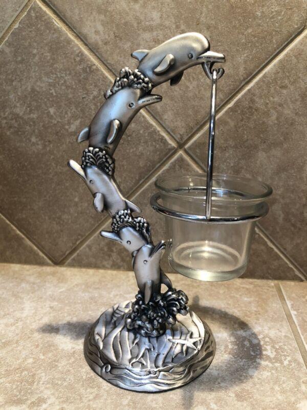 Metal Dolphins Votive Candle Holder