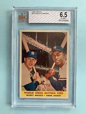 1958 Topps World Series Batting Foes #418 BVG 6.5 Mickey Mantle Hank Aaron