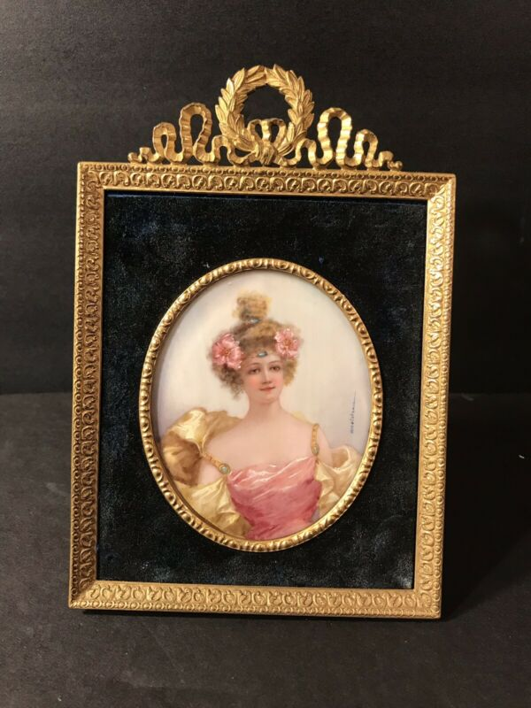 Antique Miniature Portrait Of A Lady/ Signed Doisteau/ On Ivorine, France 1900