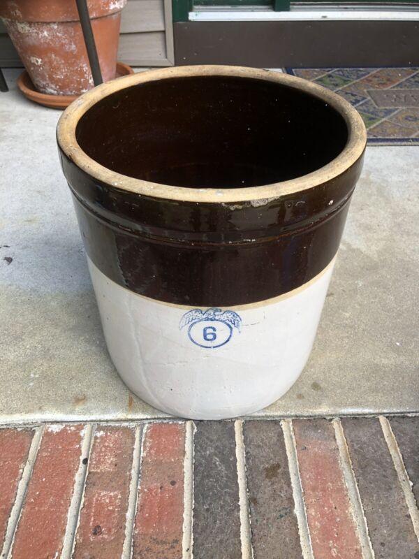 Stoneware Crock Eagle 6 Salt Glazed 2 Tone  6 Gallon
