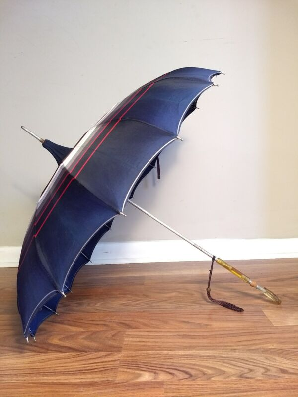 Real Vintage 1950s Red White Blue Pagoda Umbrella, Parasol, Pin-Up Girl Prop