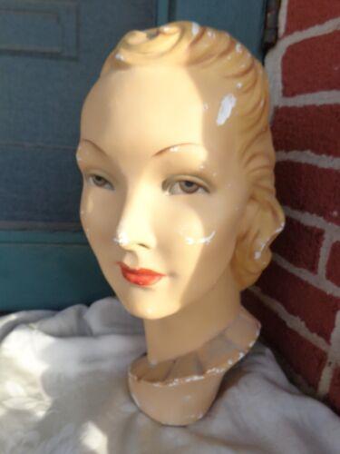 RARE VINTAGE ART DECO HP MOVIE STAR STORE DISPLAY LADY CHALK MANNEQUIN HEAD