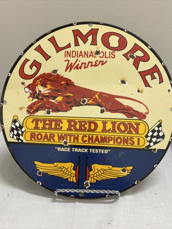 VINTAGE PORCELAIN GILMORE THE RED LION  GAS AND OIL SIGN