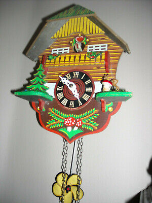 Vintage Reguar Movement Small Chalet Style Black Forest Cuckoo Clock