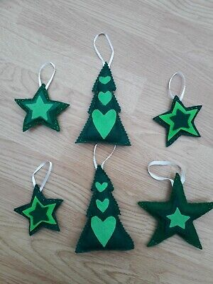 FELT HAND MADE CHRISTMAS HANGING DECORATIONS GREEN STAR TREE SEWN UNIQUE REUSE  ()