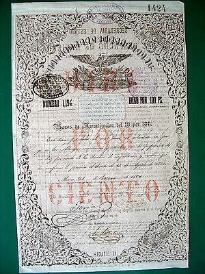 Mexico Mexican 1859 Eagle Aguila 100 $ Bono Amortizacion Bond Loan Share SCARCE