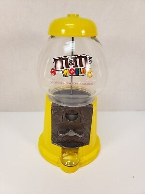 Used, M&M World Candy Machine Dispenser Yellow 25 Cent Glass Gumball Peanuts Bank for sale  Hopewell Junction