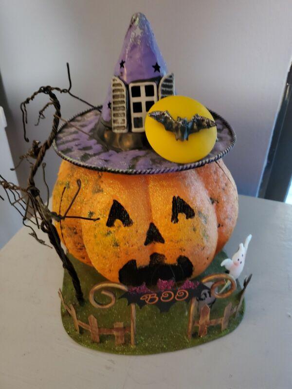 Halloween Metal Jack O Lantern Pumpkin Candle Holder Tea Light Table Decor Ghost