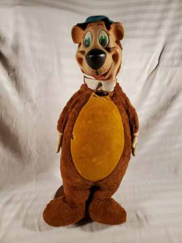 "Vintage Knickerbocker 1959 Rubber Face & Hands Doll 26"" Yogi Bear Stuffed Plush"