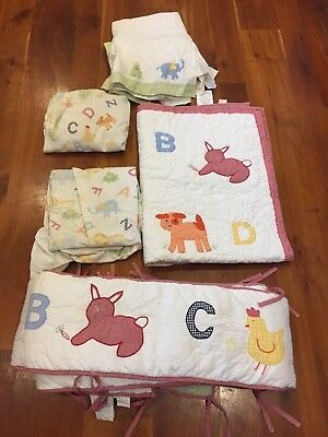 Alphabet Soup Bedding (POTTERY BARN KIDS ALPHABET SOUP CRIB BED BEDDING SET ANIMAL ZOO.  Pre-owned )