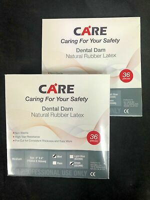 Care High Quality Dental Dam Natural Rubber Latex 6 X 6 Medium 36 Pcs