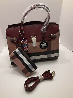 NEW Plaid Designer Inspired Style Handbag and Wallet