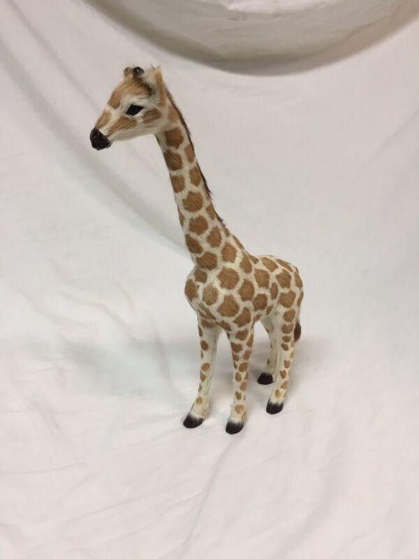 "Vintage Giraffe Figurine Real Fur Covered Giraffe Figurine12"""