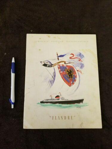 "Vintage ""Flandre"" Compagne Generale Transatlantique Cruise Line Brochure- French"