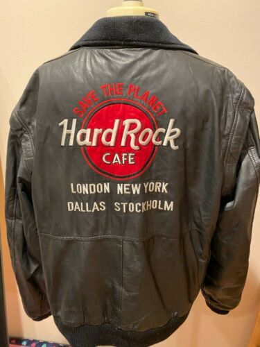 Hard Rock Cafe London-New York-Dallas-Stockholm Black Leather Jacket Large