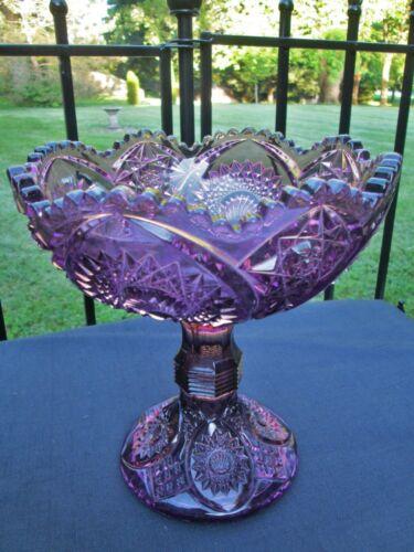 "Duncan And Miller Amethyst Purple EAPG Pedestal Compote Large Bowl Homestead 9"""