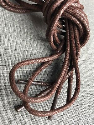 Brown Dress Shoe Shoelaces Round Waxed Cotton 39 Inch 5 Eyelet Shoe Lace (Round Brown)