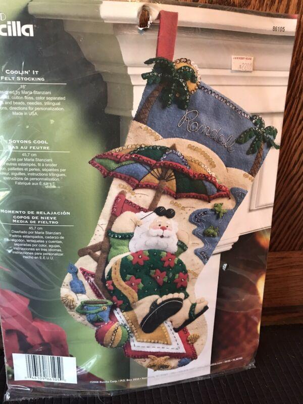 """Bucilla Coolin' It Santa Felt 18"""" Stocking Kit 86105"""