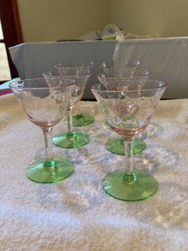 Set of 6 Watermelon Pink Green Wine Depression Glasses