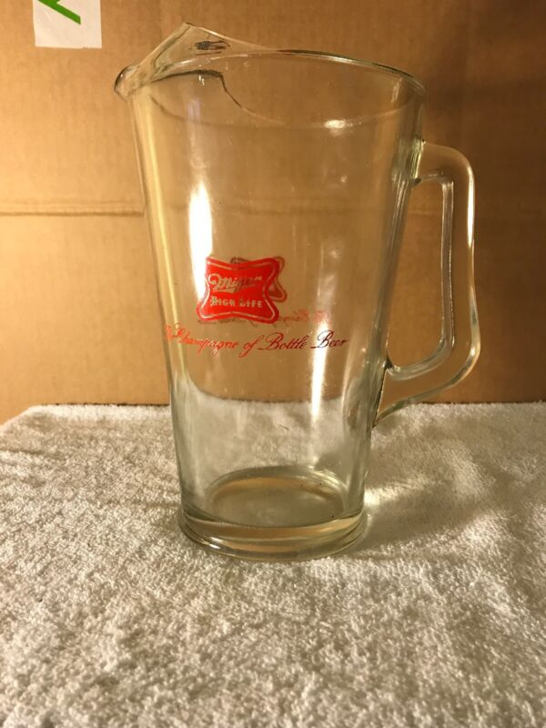 Vintage Miller High Life Glass Beer Pitcher