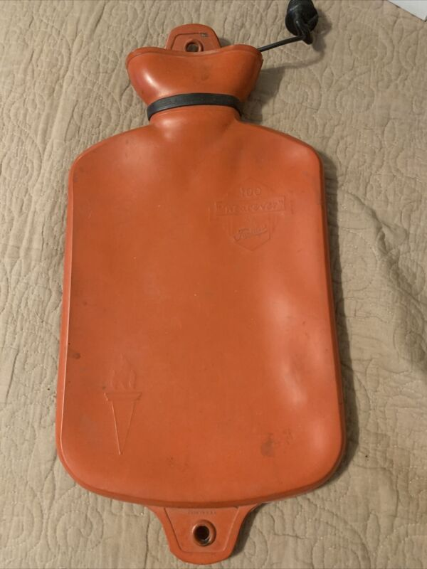 Vintage Faultless Wearever 100 Red Rubber Hot Water Bottle 16x8