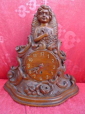 Beautiful, old Mantel__Figurine Clock __ Wood Carved __31cm__ Watch Housing