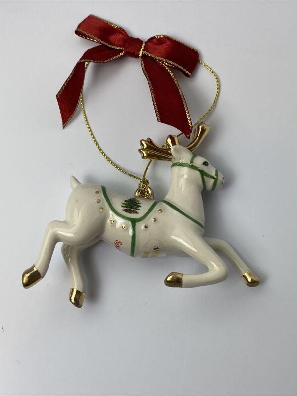 Spode Christmas Tree Reindeer Ceramic Holiday Ornament New