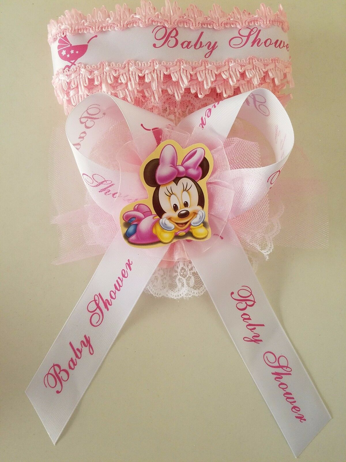 Baby Shower Minnie Mouse Mom To Be Its A Girl Sash Pink Ribbon And