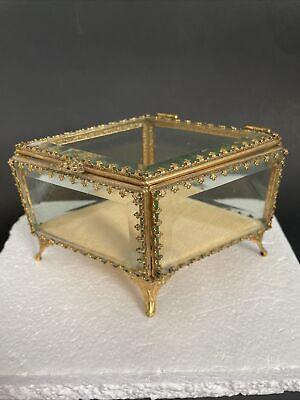 Vintage Stylebuilt Signed Ormolu Diamond Shape Trinket Jewelry Box Beveled Glass