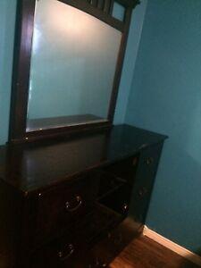 Dark real wood dresser with Mirror