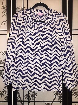 Lilly Pulitzer Silk Elsa Top White Blue Bird Printed Blouse Size Extra Small