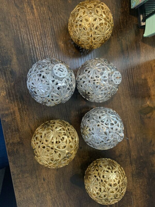 "6 RARE 3"" Vtg. West Germany Filigree Metal Christmas Balls Ornaments ECKATRINA"