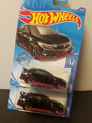 2018 Honda Civic Type R #81 Black 2/5 Honda 2020 Hot Wheels Case D LOT OF (2)