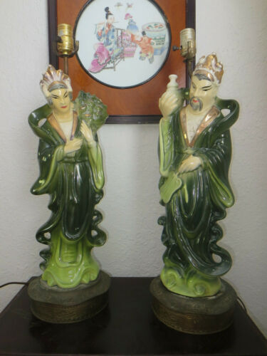 Vintage Ceramic Asian Figure Table Lamps on Bronze Base