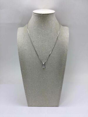 Nadri Silver Toned Clear Crystal Snake Chain Bar Pendant Necklace  for sale  San Jose