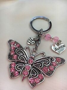 Personalised Handmade Butterfly Keyring Bag Charm Gift choose auntie, sister etc