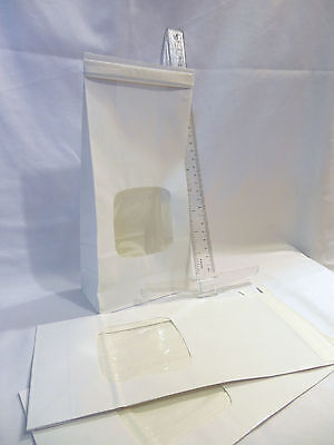 25 White Bakery Bags 4 34 X 2 12 X 9 12 Square Window 1 Lb Coffee Cookie