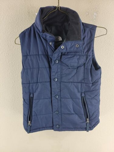Youth Boys Blue The North Face Nylon Full Button Down Collared Vest Size S