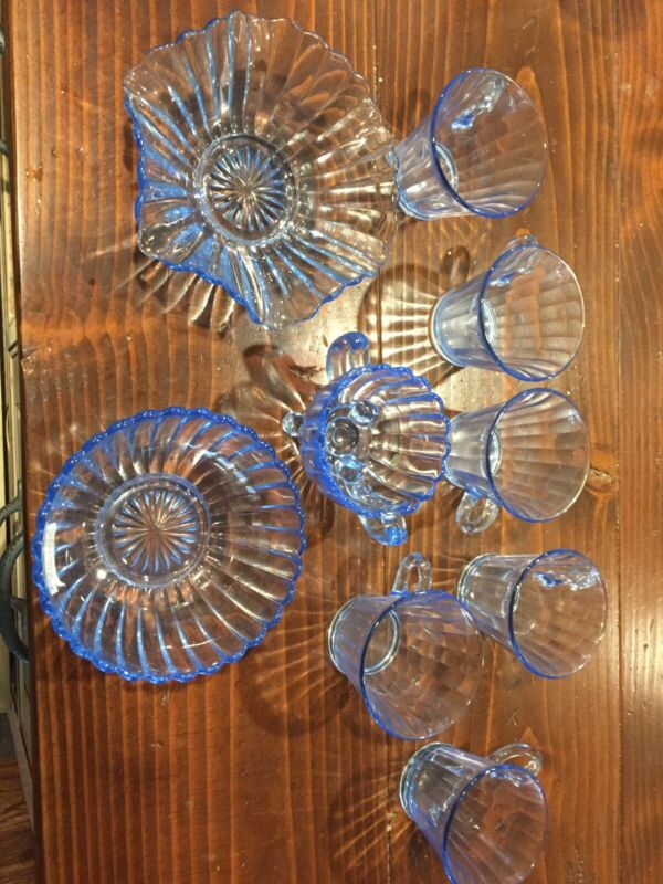 blue glassware vintage 6 COFFEE CUPS THREE BOWL LIKE PIECES
