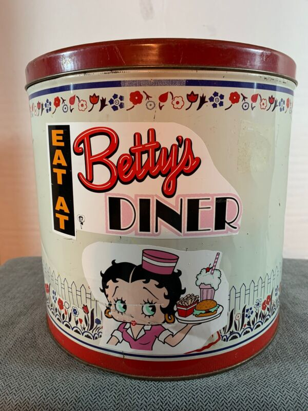 Vintage Betty Boop Metal Canister Tin Drive-In Diner Car Hop