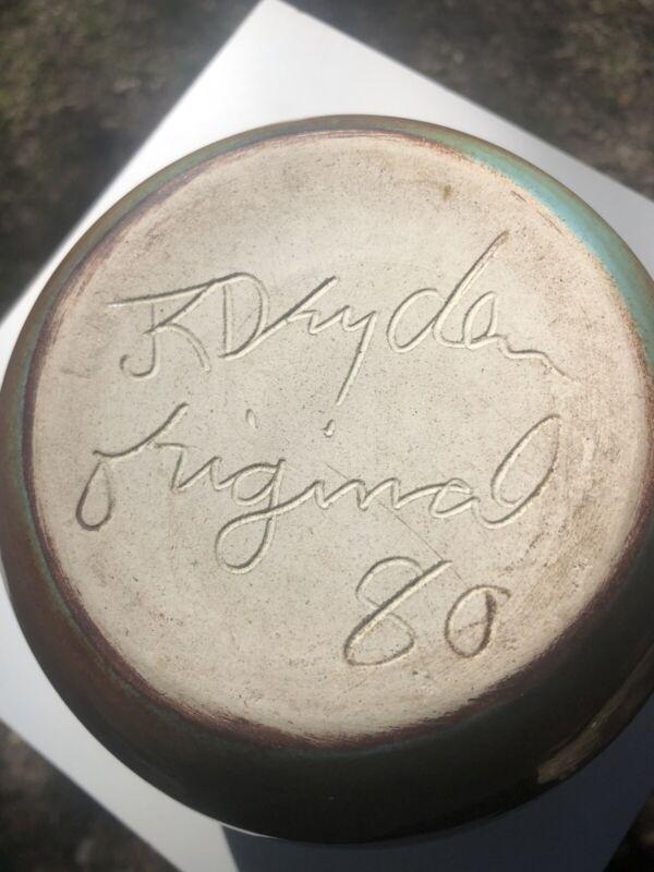 Vintage Dryden Vessel Beautiful Drip Glaze Turquoise Signed BINOBO