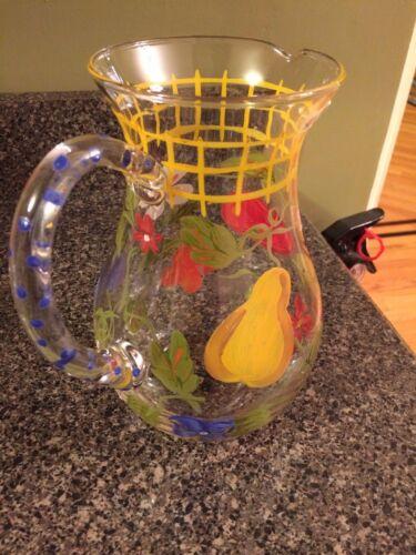 IGI DAZHOU WANG FLORAL VASE/WATER PITCHER GLASS, VINTAGE NEW