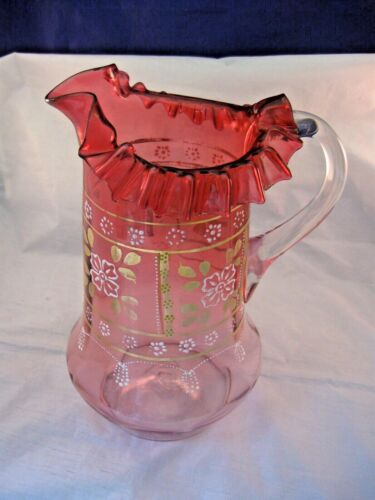 TALL VICTORIAN CRANBERRY GLASS PITCHER HAND BLOWN & DECORATED  APPLIED HANDLE