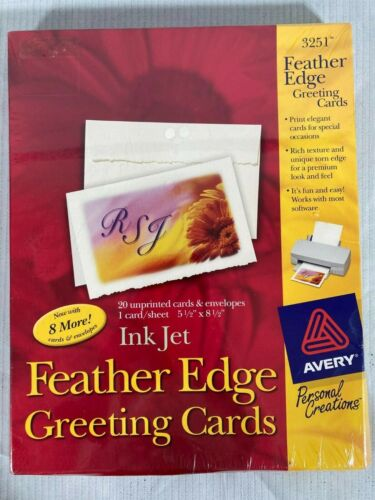 Avery 3251 Feather Edge Greeting Cards, Ink Jet.  NEW & SEALED