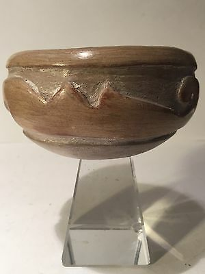 Vintage / Antique Early American Santa Clara Pottery Bowl Signed Jose Monloya