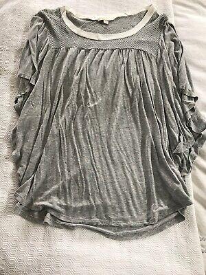 Ella Moss Flutter Sleeve Grey T Shirt Size L Ella Moss Flutter Sleeve Top